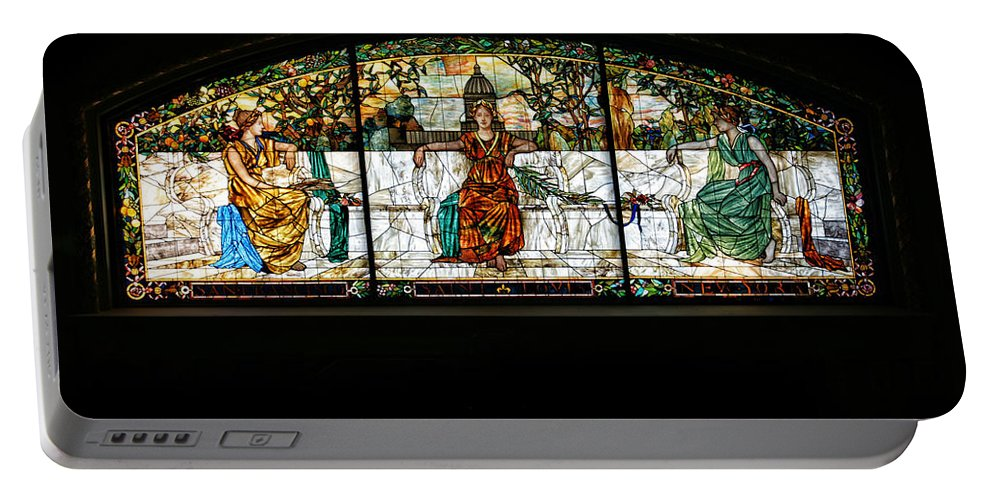 Stained Glass Portable Battery Charger featuring the photograph Stained Glass Window by Alan Hutchins