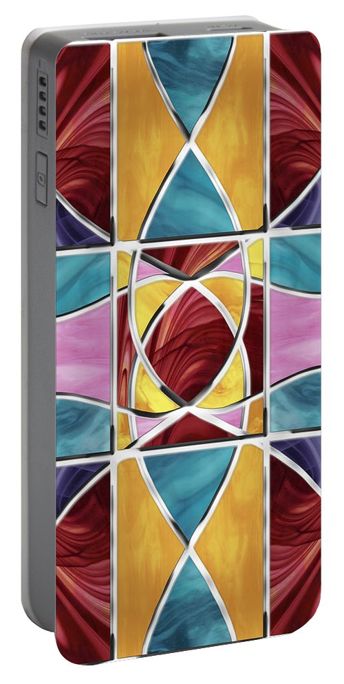 Stained Glass Portable Battery Charger featuring the digital art Stained Glass Window by Shawna Rowe