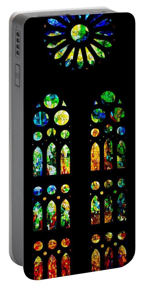 Sagrada Familia Portable Battery Charger featuring the photograph Stained Glass Windows - Sagrada Familia Barcelona Spain by Georgia Mizuleva