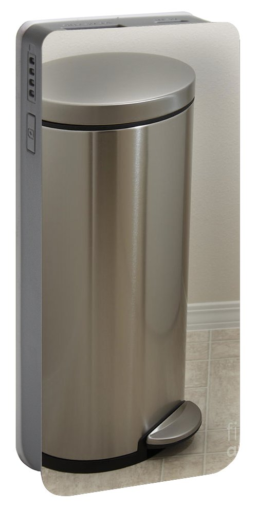 Stainless Steel Portable Battery Charger featuring the photograph Stainless Steel Laundry Bin by Lee Serenethos