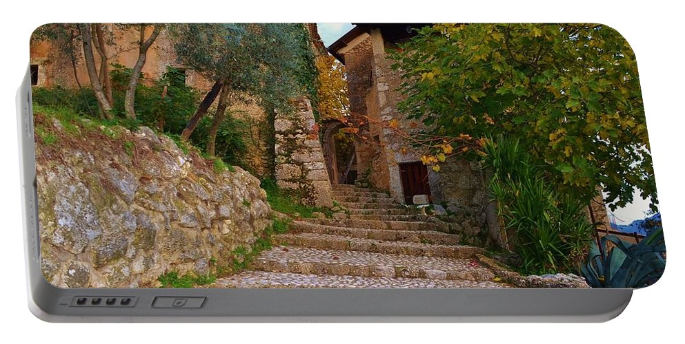 Stairs Portable Battery Charger featuring the photograph Stairs To The Village by Dany Lison