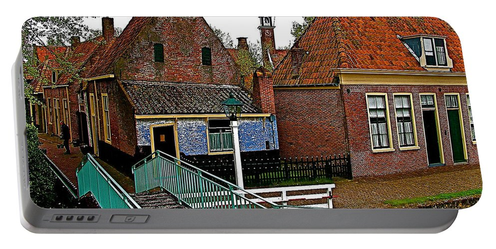 Stairway To Enkhuizen From The Dike Portable Battery Charger featuring the photograph Stairway To Enkhuizen From The Dike-netherlands by Ruth Hager