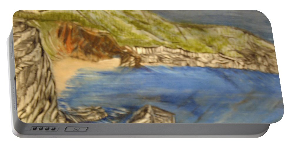 Ocean Portable Battery Charger featuring the painting Stairway To The Beach by Suzanne Surber