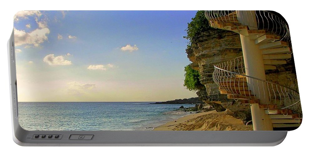 Seascapes Portable Battery Charger featuring the photograph Stairway To The Sea by Karen Wiles