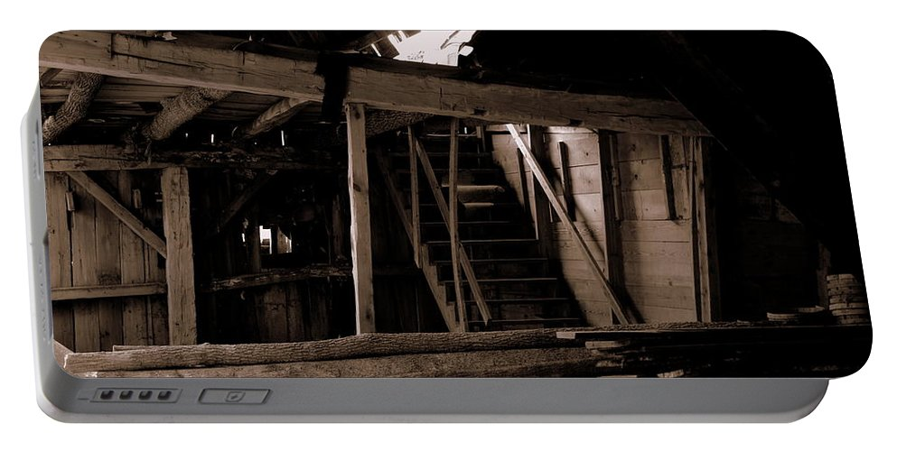 Inside Falling Down Barn Portable Battery Charger featuring the photograph Stairway To The Sky by Kitrina Arbuckle