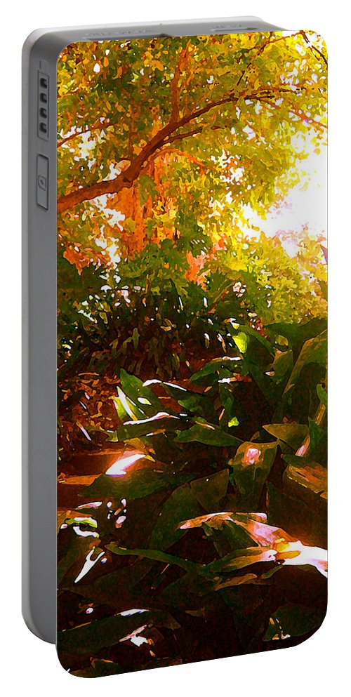 Landscapes Portable Battery Charger featuring the painting Stairway To The Top by Amy Vangsgard