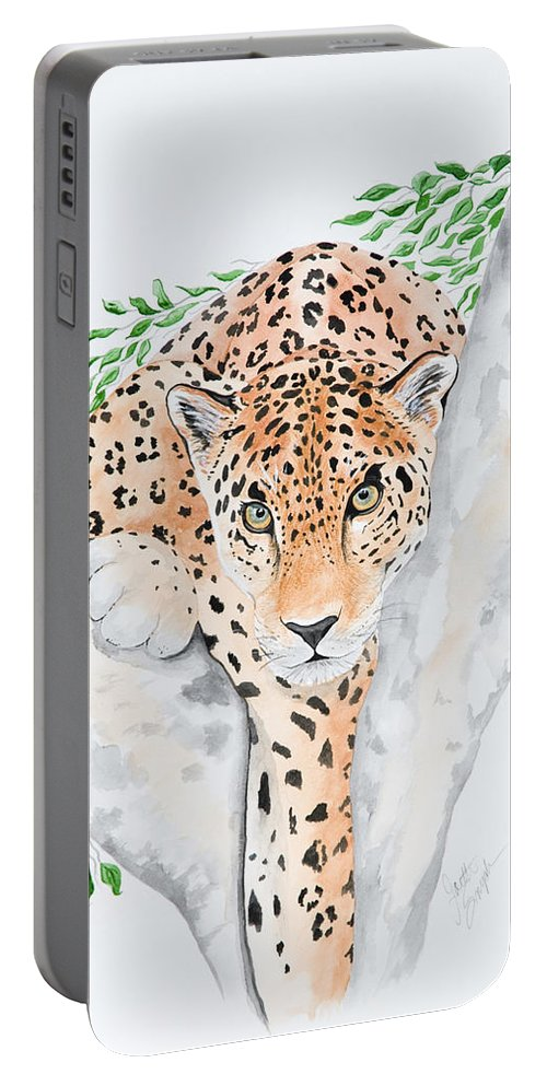 Joette Snyder Portable Battery Charger featuring the painting Stalker In The Trees by Joette Snyder