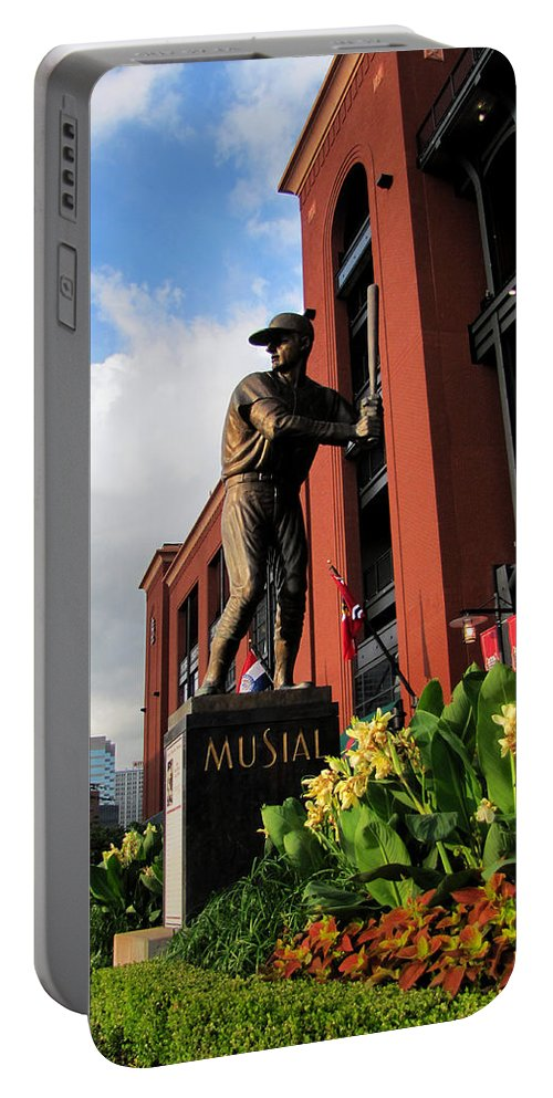 Stan Musial Statues Busch Stadium Portable Battery Charger featuring the photograph Stan Musial Statue by John Freidenberg