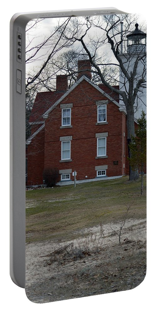 Forty Mile Point Lighthouse Portable Battery Charger featuring the photograph Stand Tall by Linda Kerkau