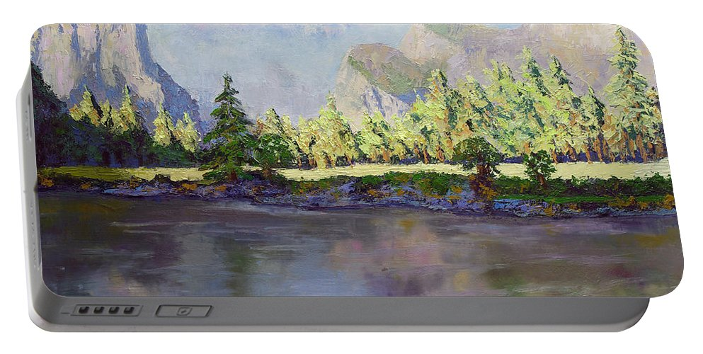 Yosemite Valley Portable Battery Charger featuring the painting Standing Guard Over Yosemite Valley by Linda Riesenberg Fisler