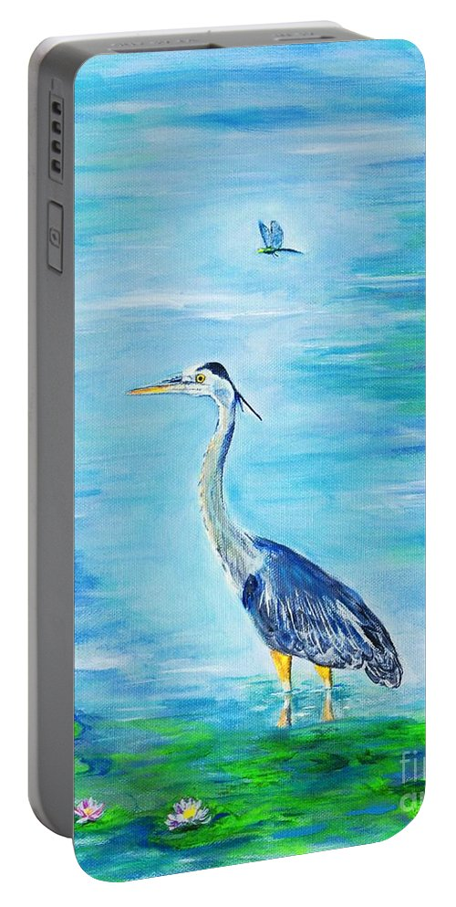 Heron Portable Battery Charger featuring the painting Standing Tall by Leslie Allen