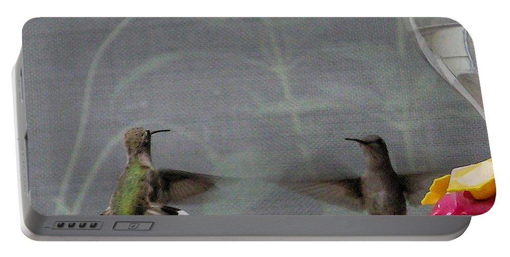 Humming Bird Portable Battery Charger featuring the photograph Standoff by Shannon Story