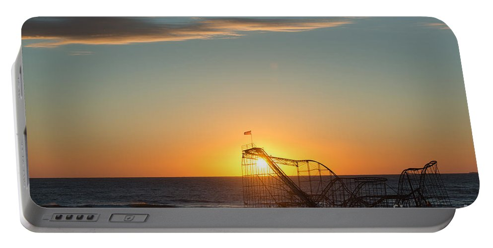 Mikeversprill.com Portable Battery Charger featuring the photograph Star Jet Sunrise Silhouettte by Michael Ver Sprill