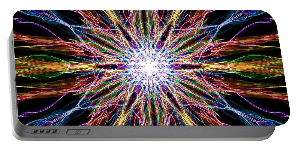 Abstract Portable Battery Charger featuring the digital art Star Power by April Patterson
