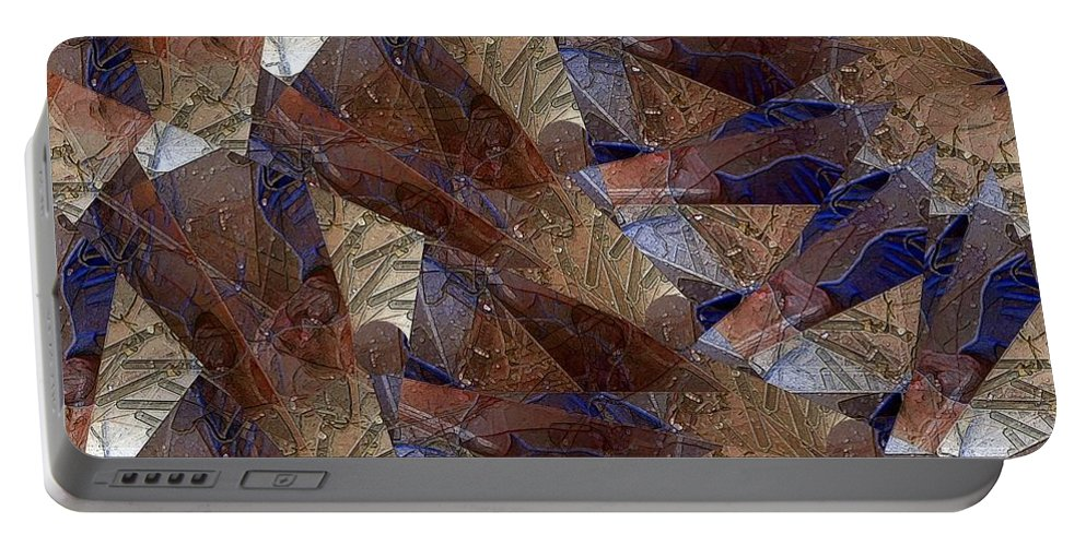 Abstract Portable Battery Charger featuring the digital art Star Segments by Ron Bissett