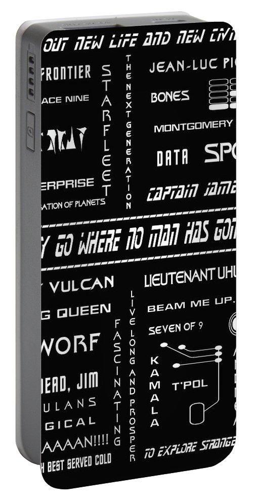 Star Trek Portable Battery Charger featuring the digital art Star Trek Remembered by Georgia Fowler