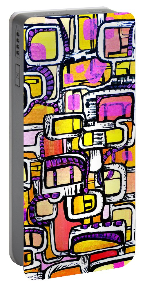 Abstract Portable Battery Charger featuring the painting Starburst Kingdom by Larry Calabrese