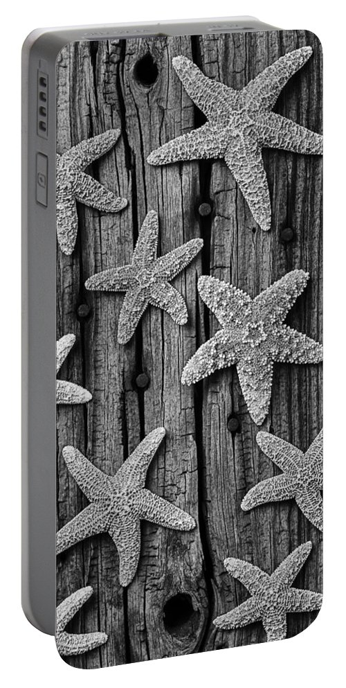 Starfish Portable Battery Charger featuring the photograph Starfish On Old Wood Black And White by Garry Gay