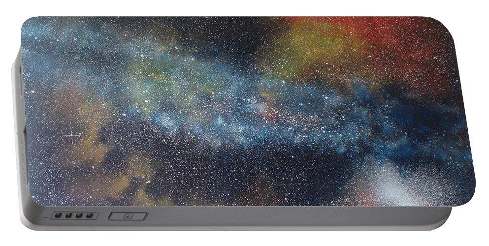 Space;stars;starry;nebula;spiral;galaxy;star Cluster;celestial;cosmos;universe;orgasm Portable Battery Charger featuring the painting Stargasm by Sean Connolly