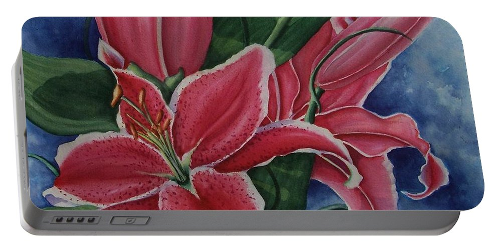 Stargazer Portable Battery Charger featuring the painting Stargazer by Conni Reinecke