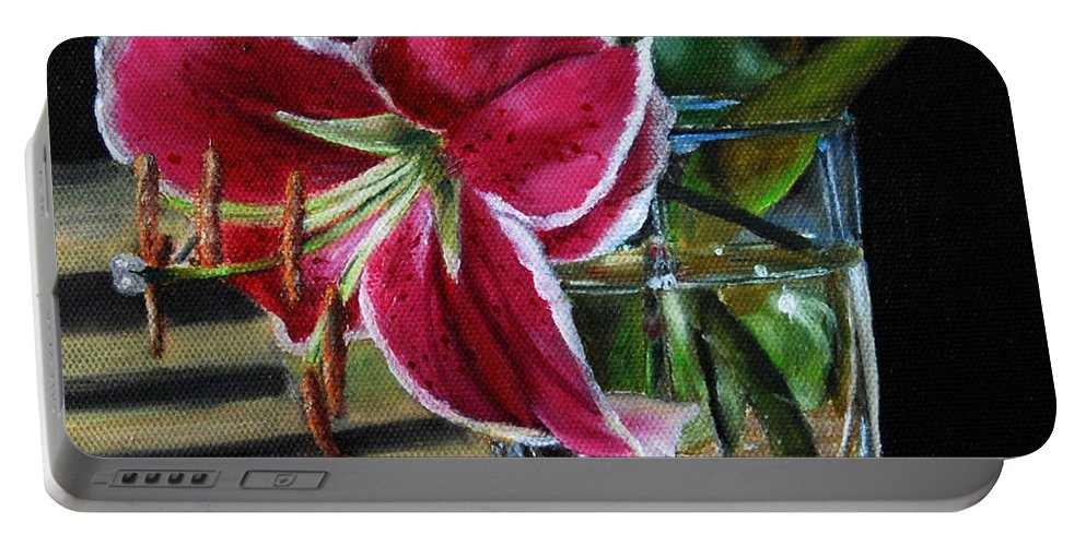 Stargazer Portable Battery Charger featuring the painting Stargazer Lily by Mary Hughes