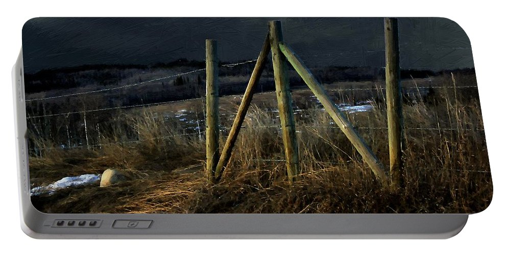 Fence Portable Battery Charger featuring the painting Starless Canadian Sky by RC DeWinter