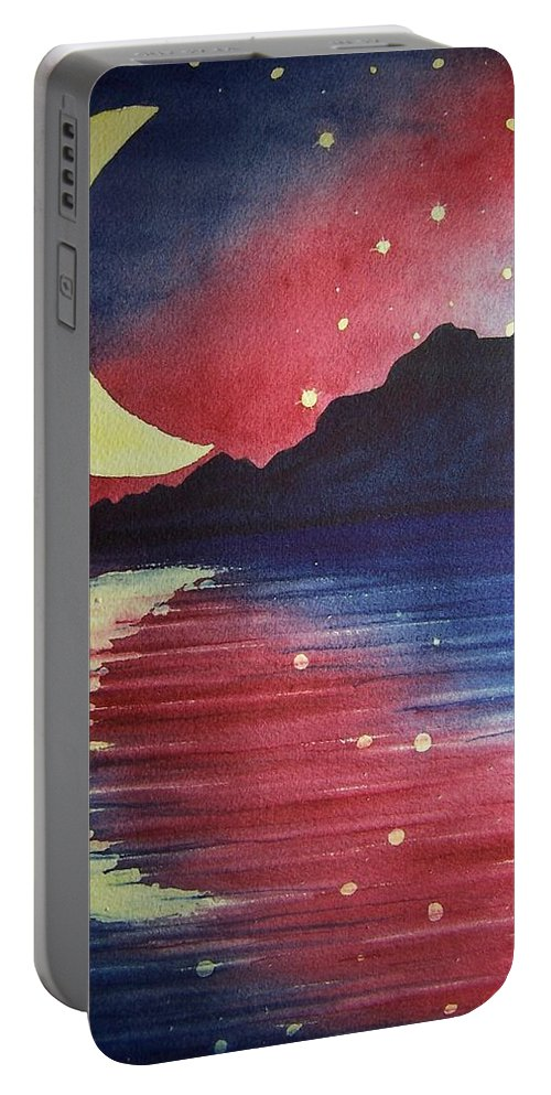Star Portable Battery Charger featuring the painting Starry Lake by Conni Reinecke