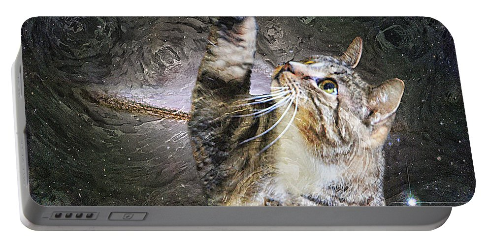 Cat Portable Battery Charger featuring the photograph Starry Night Kitty Style - Featured In Comfortable Art Group by Ericamaxine Price