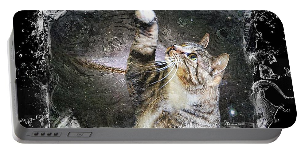Cat Portable Battery Charger featuring the photograph Starry Night Kitty Style Splash by Ericamaxine Price