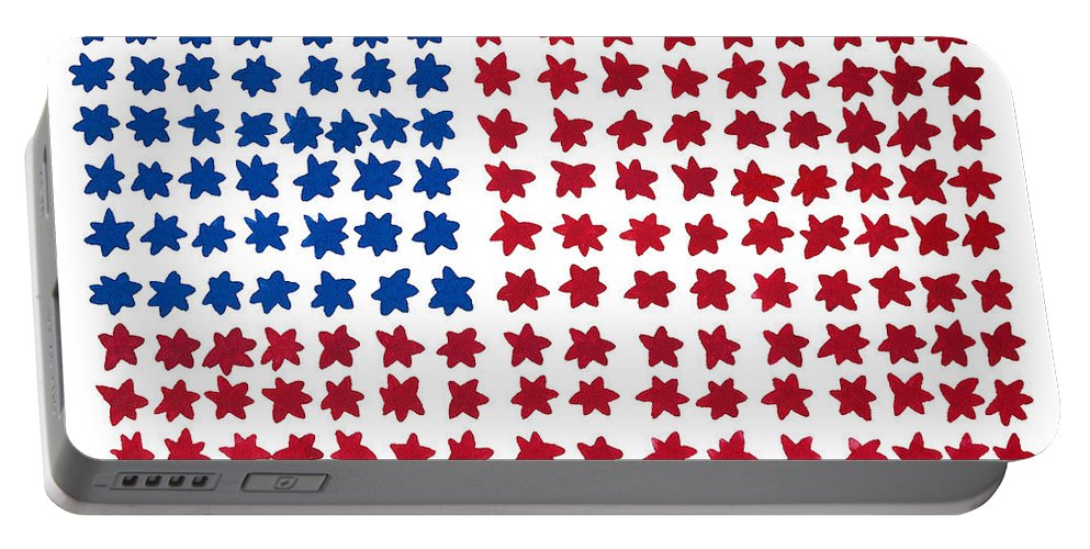 Contemporary Portable Battery Charger featuring the painting Stars No Stripes by Bjorn Sjogren