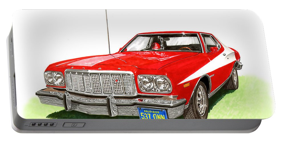 Movie Cars Portable Battery Charger featuring the painting Starsky Hutch 1974 Ford Gran Torino Sport by Jack Pumphrey
