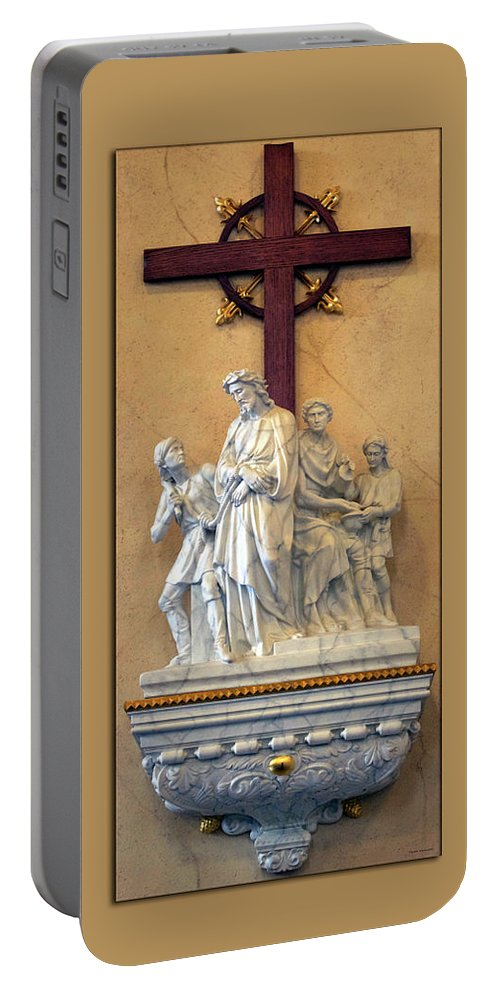 Statue Portable Battery Charger featuring the photograph Station Of The Cross 01 by Thomas Woolworth
