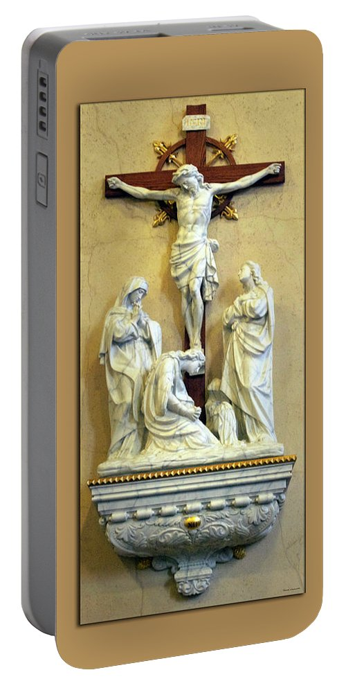 Statue Portable Battery Charger featuring the photograph Station Of The Cross 12 by Thomas Woolworth