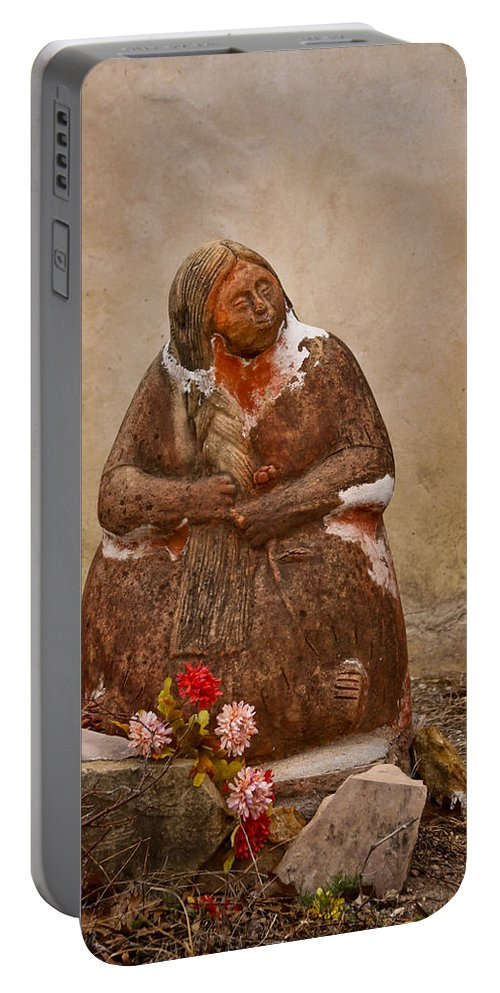 Mission San Juan Capistrano Portable Battery Charger featuring the photograph Statue From Mission San Juan Capistrano by David and Carol Kelly