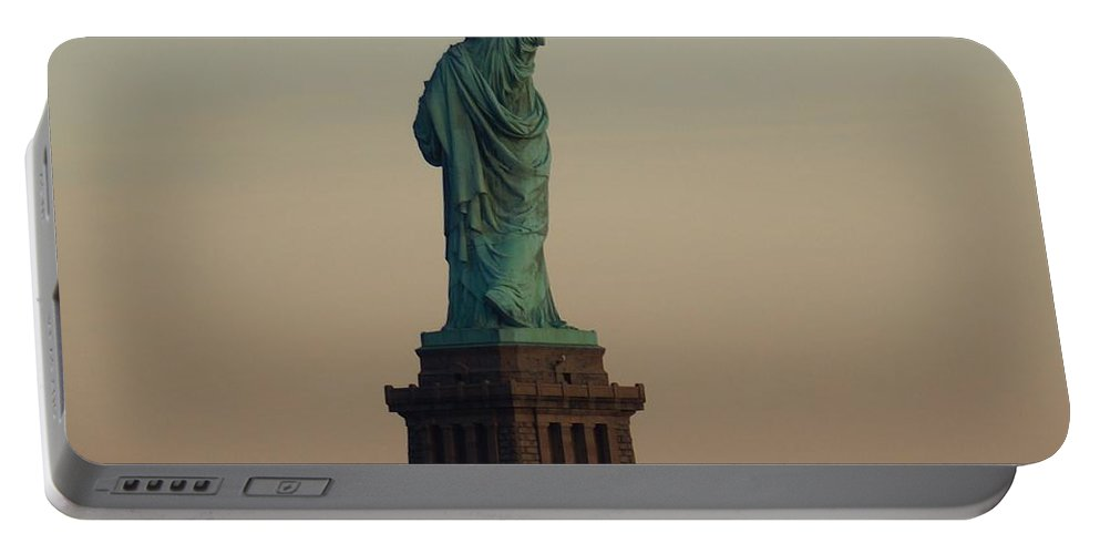 Statue Portable Battery Charger featuring the photograph Statue Of Liberty From The Jersey Side by John Wall