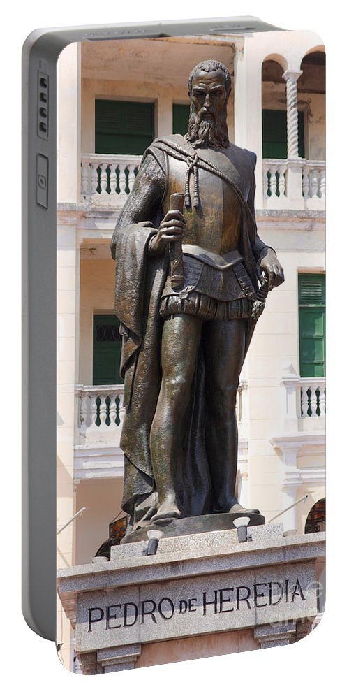 Bronze Portable Battery Charger featuring the photograph Statue Of Pedro De Heredia by Jannis Werner