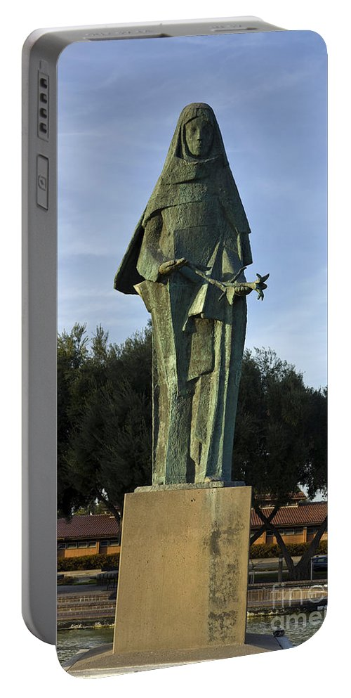 Travel Portable Battery Charger featuring the photograph Statue Of Saint Clare Santa Clara California by Jason O Watson