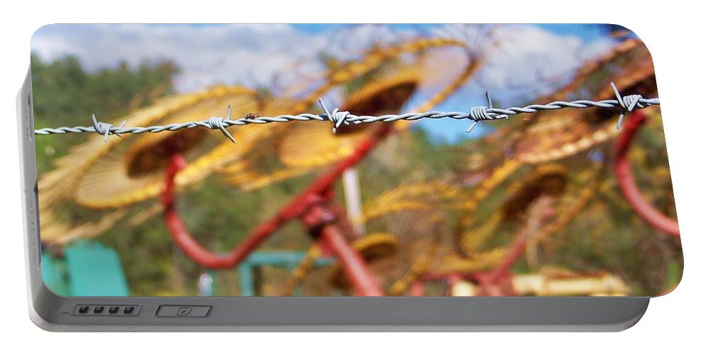 Fence Portable Battery Charger featuring the photograph Stay Out by Chuck Hicks