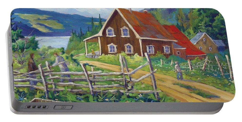 Art Portable Battery Charger featuring the painting Ste-rose Du Nord by Richard T Pranke