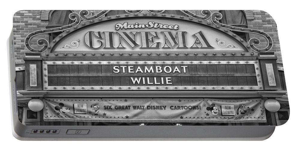 Disney Portable Battery Charger featuring the photograph Steam Boat Willie Signage Main Street Disneyland Bw by Thomas Woolworth