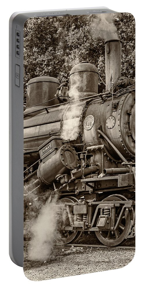 Pocahontas County Portable Battery Charger featuring the photograph Steam Power Sepia by Steve Harrington