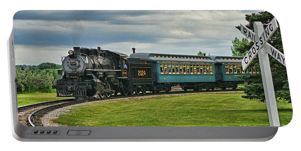 Trains Portable Battery Charger featuring the photograph Steam Train Tr3627-13 by Randy Harris