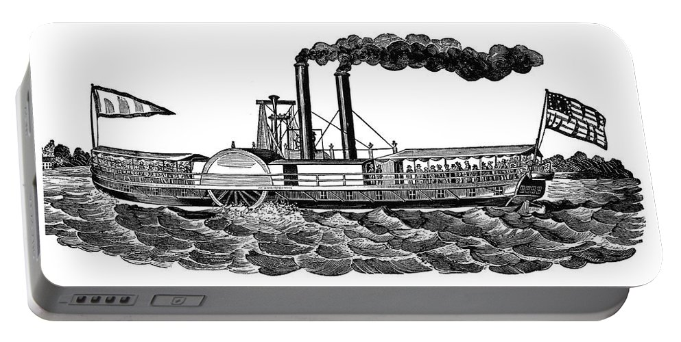 19th Century Portable Battery Charger featuring the painting Steamboat, 19th Century by Granger