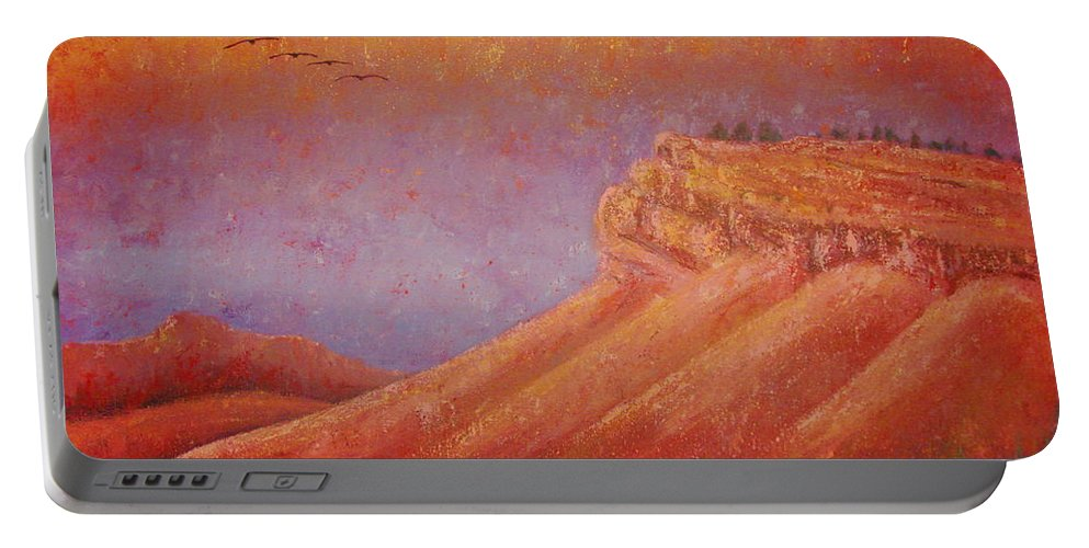 Steamboat Mountain Portable Battery Charger featuring the painting Steamboat Mountain at Sunrise by Margaret Bobb