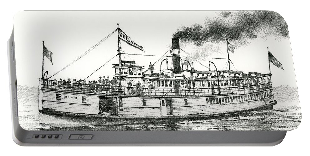 Steamboat Artwork Portable Battery Charger featuring the drawing Steamboat Reliance by James Williamson