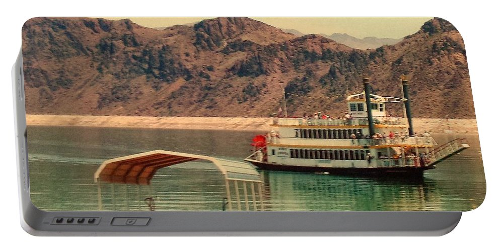 Steamer Portable Battery Charger featuring the photograph Steamer Along Lake Mead by Lisa Byrne