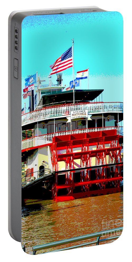 Boat Portable Battery Charger featuring the digital art Steamer Natchez Paddleboat by Alys Caviness-Gober