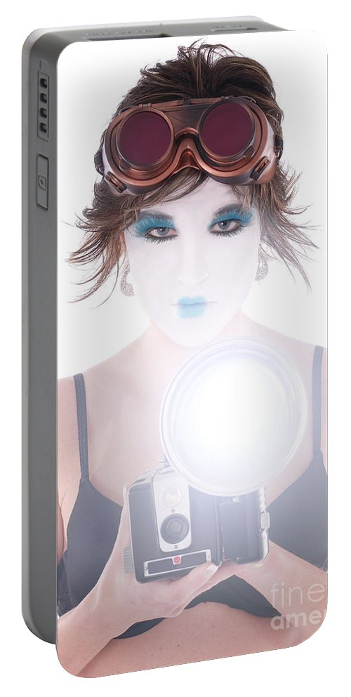 Steampunk Portable Battery Charger featuring the photograph Steampunk Geisha Photographer by Jt PhotoDesign