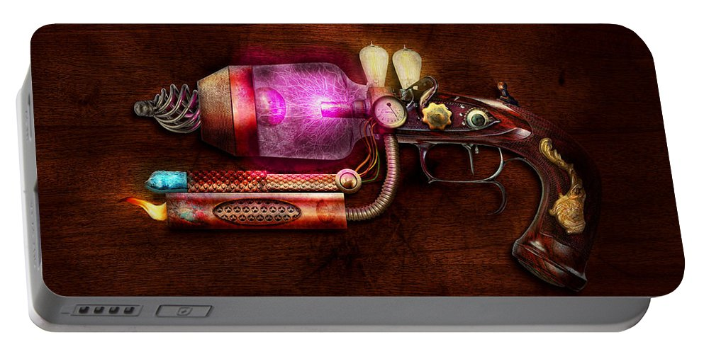 Steampunk Portable Battery Charger featuring the digital art Steampunk - Gun -the Neuralizer by Mike Savad