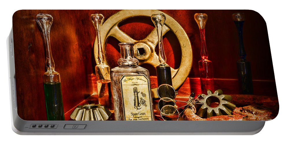 Paul Ward Portable Battery Charger featuring the photograph Steampunk - Spare Gears - Mechanical by Paul Ward